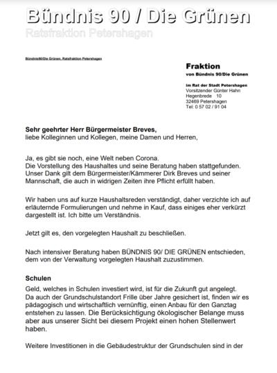 Haushaltsrede BÜNDNIS'90/DIE GRÜNEN zum Doppelhaushalt 2021/2022